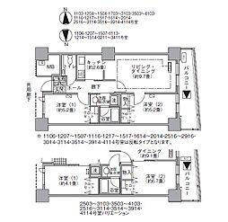 都営大江戸線 汐留駅 徒歩4分の賃貸マンション 32階2LDKの間取り