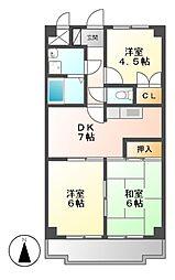 愛知県名古屋市中村区横前町の賃貸マンションの間取り