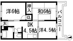 大阪府池田市畑4丁目の賃貸マンションの間取り