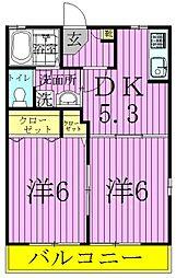 メゾンクレールB[2階]の間取り