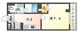 アクロス大日アパートメントII 2階1Kの間取り