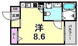 サンクラッソ神戸山手 1階ワンルームの間取り