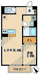 コンフォートK 2階1LDKの間取り