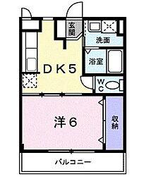 近鉄南大阪線 恵我ノ荘駅 3.2kmの賃貸マンション 2階1DKの間取り