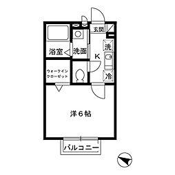 アムール元木(角部屋、広々収納付き)[205(角部屋)号室]の間取り