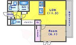 JR東海道・山陽本線 向日町駅 徒歩7分の賃貸アパート 1階1LDKの間取り
