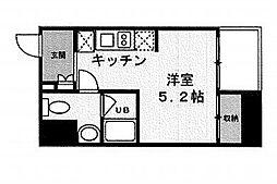 東京メトロ日比谷線 茅場町駅 徒歩4分の賃貸マンション 3階ワンルームの間取り
