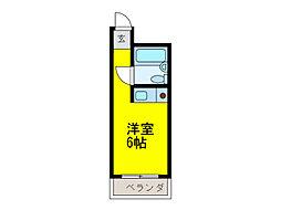 京阪本線 野江駅 徒歩2分の賃貸マンション 5階ワンルームの間取り