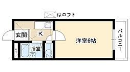 愛知県日進市本郷町前川の賃貸アパートの間取り