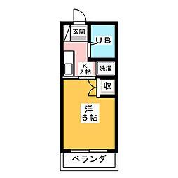 杉沢ハイツ 3階1Kの間取り