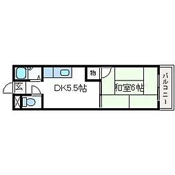 芥川ロイヤルマンション[A202号室]の間取り