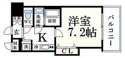 阪神本線 芦屋駅 徒歩7分の賃貸マンション 3階1Kの間取り