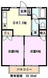 埼玉県川口市末広3の賃貸アパートの間取り