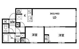 JR総武線 錦糸町駅 徒歩9分の賃貸マンション 4階2LDKの間取り