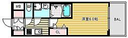 レオンコンフォート難波リオ 2階1Kの間取り