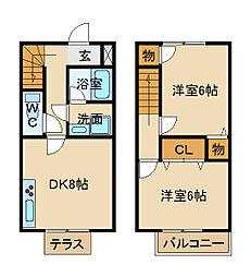 [テラスハウス] 兵庫県姫路市飾磨区阿成植木 の賃貸【/】の間取り