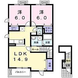 ソルシェール熊取3番館[2階]の間取り