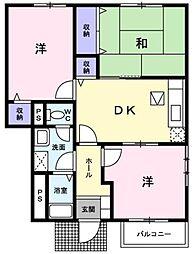 広島県福山市駅家町大字万能倉の賃貸アパートの間取り