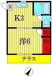 東京都葛飾区東金町1丁目の賃貸アパートの間取り