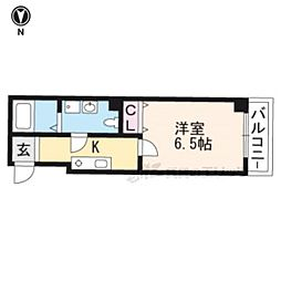 JR山陰本線 丹波口駅 徒歩9分の賃貸マンション 3階1Kの間取り