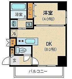 札幌市営南北線 北24条駅 徒歩6分の賃貸マンション 4階1LDKの間取り