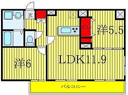 MAXIV北赤羽DUE 3階2LDKの間取り