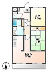 愛知県名古屋市名東区勢子坊1の賃貸マンションの間取り