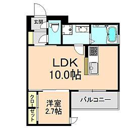 クレアージュ玉井町 3階1LDKの間取り