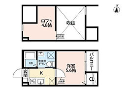 愛知県名古屋市中村区北畑町1丁目の賃貸アパートの間取り