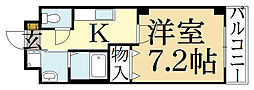 京都府京都市左京区松ケ崎樋ノ上町の賃貸マンションの間取り