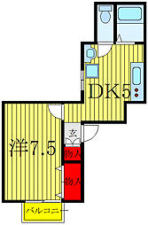 仮)ノースコート赤羽 2階1DKの間取り