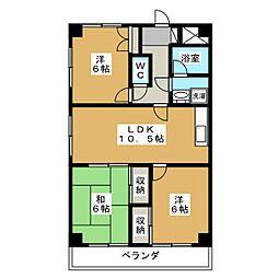 セントラルグリーンマンション[6階]の間取り