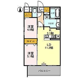 (仮)D-room旭ケ丘町 2階2LDKの間取り