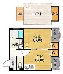 京阪本線 土居駅 徒歩2分の賃貸マンション 3階1DKの間取り