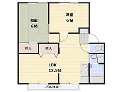 埼玉県上尾市栄町の賃貸アパートの間取り