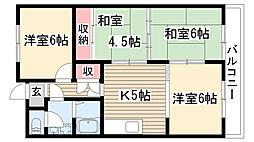 ベルコート松井[203号室]の間取り