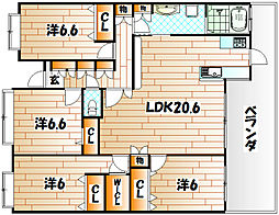 ホワイトキャッスル小森江東[10階]の間取り