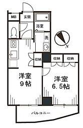 東京都調布市布田2丁目の賃貸マンションの間取り
