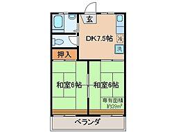 京都府宇治市広野町中島の賃貸アパートの間取り