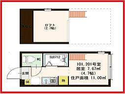 東京都北区東十条6丁目の賃貸アパートの間取り