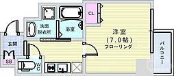 セオリー難波パレ 8階1Kの間取り
