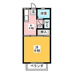 ハイム江戸橋B[2階]の間取り
