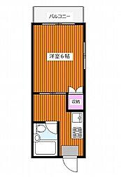 コーポロードサイド 幡ヶ谷駅徒歩6分 閑静な住宅街の最上階角の間取り