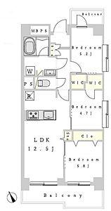 間取り,3LDK,面積61.4m2,価格2,099万円,JR横浜線 相模原駅 徒歩4分,,神奈川県相模原市中央区相模原4丁目