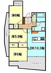中央ハイツ海老塚[3A号室]の間取り