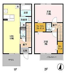 [テラスハウス] 東京都国立市谷保 の賃貸【東京都 / 国立市】の間取り