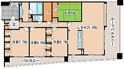 兵庫県神戸市灘区摩耶海岸通1丁目の賃貸マンションの間取り