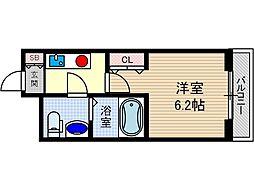 ターミナルズ茨木 6階1Kの間取り