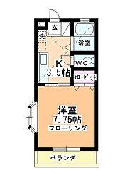 福田ハイツB館[105号室]の間取り