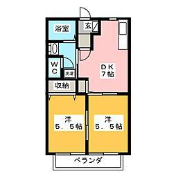 ハイツ・プランドール B棟[2階]の間取り